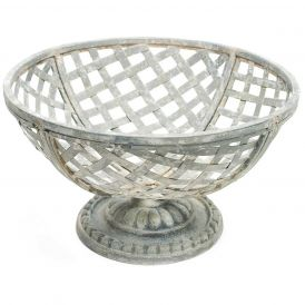 Tin Cup Basket on Pedestal, Set of 2