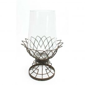 Hurricane Iron Candleholder, Set of 2