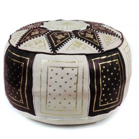 Fez Moroccan Leather Pouf in Black / Beige