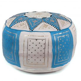Fez Moroccan Leather Pouf in Blue / Beige