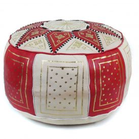 Fez Moroccan Leather Pouf in Red / Beige