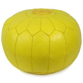 Moroccan Pouf in Yellow