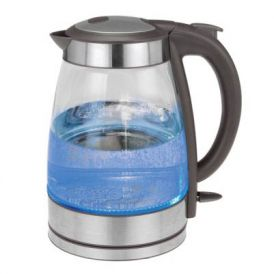 Stainless Steel 1.7 Liter Glass Water Kettle in Grey