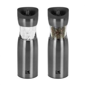 Electric Gravity Salt and Pepper Grinder Set in Gun Metal