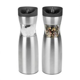 Electric Gravity Salt and Pepper Grinder Set in Silver