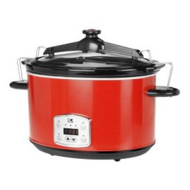 Red 8 Qt Digital Slow Cooker with Locking Lid