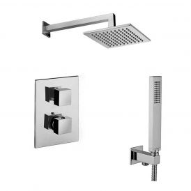 Level KIT LEQ 518 Complete Shower Set with Shower Head, Hand Shower, and Faucet in Polished Chrome