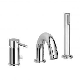 Light LIG 040 Three-hole Bath Faucet with Hand Shower in Polished Chrome