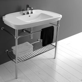 Nova 100C Ceramic Bathroom Sink with Chrome Structure 39.4""
