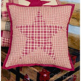 Colonial Burgundy and Tan Quilted Pillow