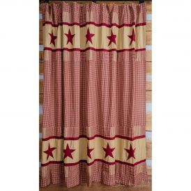 Burgundy Checkered Shower Curtain, Double Bordered