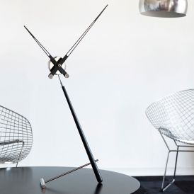 Pun L Black Table Clock in Steel and Lacquered Walnut Wood
