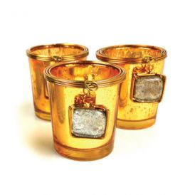 Costa Brava W-76631G Golden Glass Voltive Holder