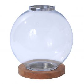 Amalfitana W-B301 Globe Wood Base Candle Holder