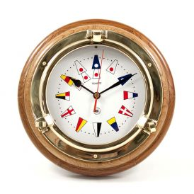 Porthole Quartz Clock with Nautical Flags Dial Face