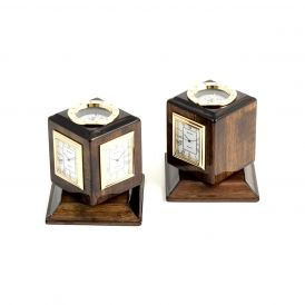 Three Time Zone Revolving Desk Clock with Compass Top and Engraving Plates