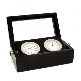Chrome Clock and Thermometer in Hinged Box with Glass Top