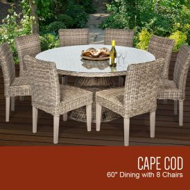 Cape Cod Vintage Stone 60 Inch Outdoor Patio Dining Table with 8 Armless Chairs
