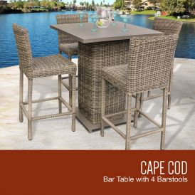 Cape Cod Pub Table Set With Barstools 5-Piece Outdoor Wicker Patio Furniture