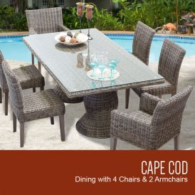 Cape Cod Vintage Stone Rectangular Outdoor Patio Dining Table with 4 Armless Chairs and 2 Chairs with Arms