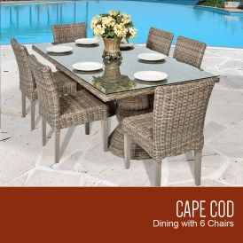 Cape Cod Vintage Stone Rectangular Outdoor Patio Dining Table with 6 Armless Chairs