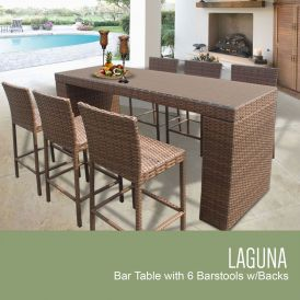 Laguna Bar Table Set With Barstools 7-Piece Outdoor Wicker Patio Furniture
