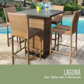 Laguna Pub Table Set With Barstools 5-Piece Outdoor Wicker Patio Furniture