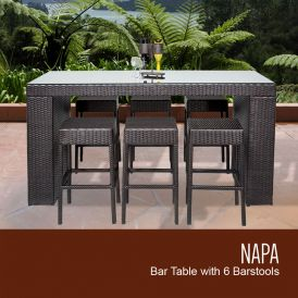 Napa Bar Table Set With Backless Barstools 7-Piece Outdoor Wicker Patio Furniture