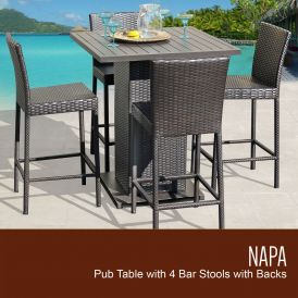 Napa Pub Table Set With Barstools 5-Piece Outdoor Wicker Patio Furniture