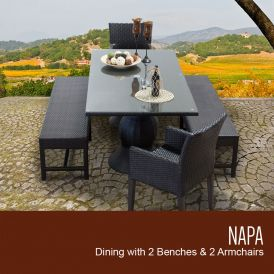 Napa Rectangular Outdoor Patio Dining Table with 2 Chairs with Arms and 2 Benches