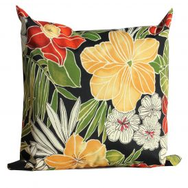 """Black Floral Outdoor Throw Pillows Square 18"""" x 18"""", Set of 2"""