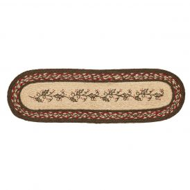 Holiday Holly Berry Jute Oval Stencil Decorative Holiday Stair Tread Rug