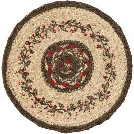 Holiday Holly Berry Decorative Holiday Jute Circular Trivet