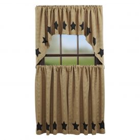 Nancys Nook Burlap Natural Stencil Star Swag Bedroom Curtains, Set of 2