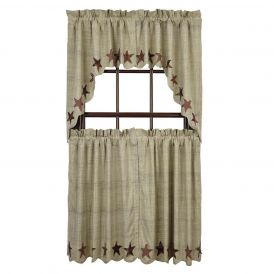 Nancys Nook Abilene Star Swag Bedroom Curtains, Set of 2
