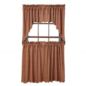 Nancys Nook Burgundy Check Scalloped Tier Bedroom Curtains, Set of 2
