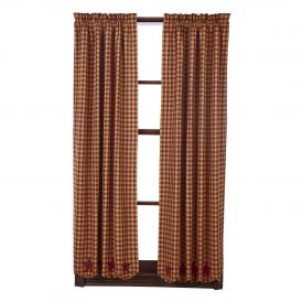 Nancys Nook Burgundy Star Panel Bedroom Curtains, Set of 2