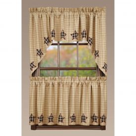 Nancys Nook Bingham Star Applique Swag Bedroom Curtains, Set of 2