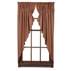 Nancys Nook Burgundy Check Scalloped Prairie Bedroom Curtains, Set of 2