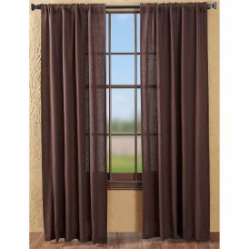 Nancys Nook Burlap Chocolate Panel Bedroom Curtains, Set of 2