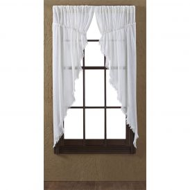 Nancys Nook Tobacco Cloth Antique White Prairie Bedroom Curtains, Set of 2