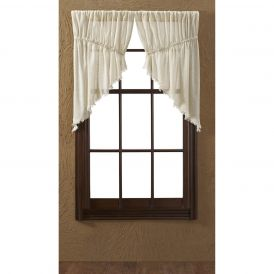Nancys Nook Tobacco Cloth Natural Prairie Swag Bedroom Curtains, Set of 2