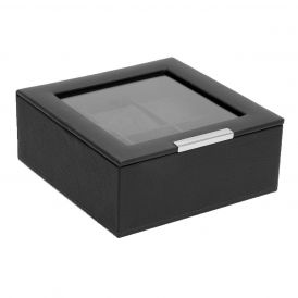 Stackable 6 Piece Watch Tray with Lid in Black