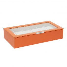 Stackable 12 Piece Watch Tray with Lid in Orange