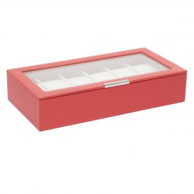 Stackable 12 Piece Watch Tray with Lid in Coral