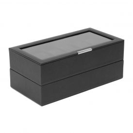 Stackable 12 Piece Watch Trays in Black, Set of 2